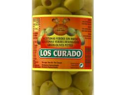 Зеленые оливки без косточки в жестяной и стеклянной таре